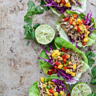 Slow Cooker Pork Carnitas Lettuce Wraps with Mango Salsa.