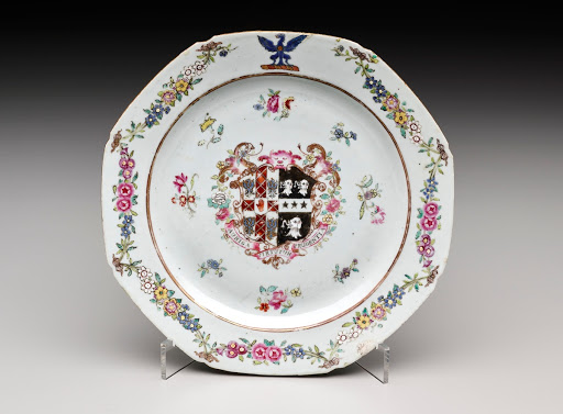 Octagonal Plate with Floral Border and Coat of Arms
