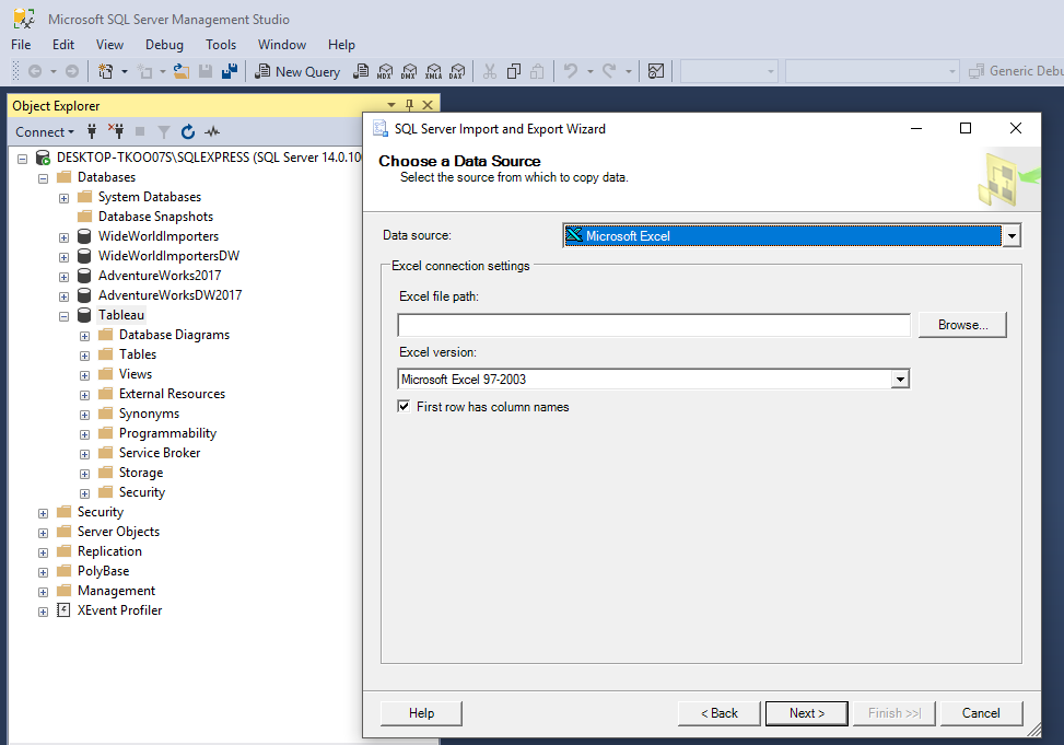 Load Sample Super Store Excel Data into Microsoft Sql Server to Analyze with Tableau 29