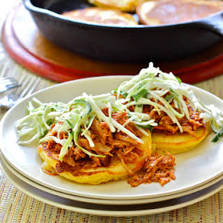 Cheddar Corn Cakes with Pulled Pork.