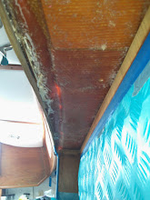 Photo: looking aft along port side overhead - ready for new tabbing along cabinets and partial bulkhead at galley