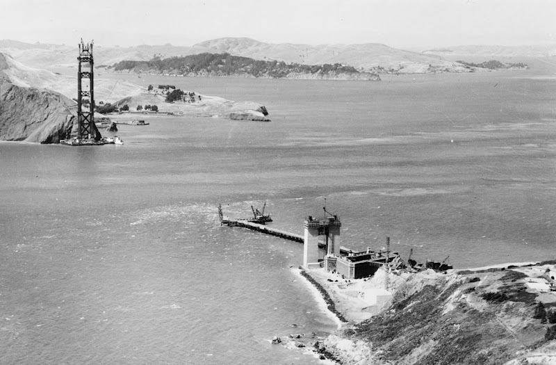 Photo: Construction of the Golden Gate Bridge, ca. 1933. A trestle reaches out from the San Francisco shore to the foundation of the north tower. (Library of Congress)