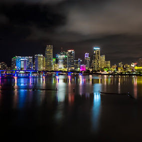 Miami Skylines by Marcin Frąckiewicz - City,  Street & Park  Night ( florida, miami, night, skylines )