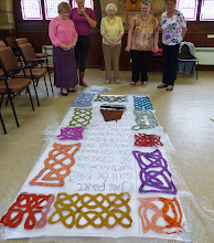 Photo: final decision on arrangement of our knotwork cut-outs