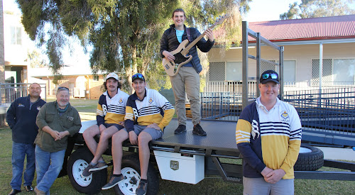 THE TRAILER THAT JACK BUILT: Narrabri High School Year 12 student Jack Brennan in front of the 4m by 2.5m steel trailer he built as his HSC industrial technology project. In behind are teachers Les Hala and Greg House and fellow students Will Cain, Thomas Gett and Harrison Russell. Harrison is holding the bass guitar he built as his project. William built a dog/tool box and Thomas built a Faber tool chest and photos of those and other work will be in a future edition of The Courier.