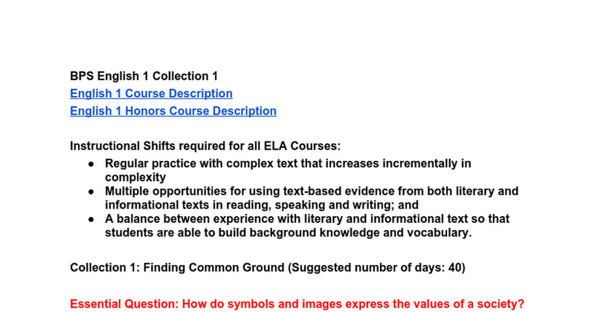 English 1 Collection 1 Finalc Google Docs