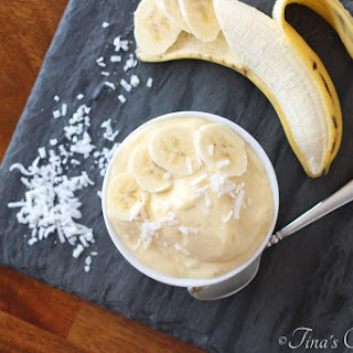 Tropical Banana Smoothie In A Bowl.