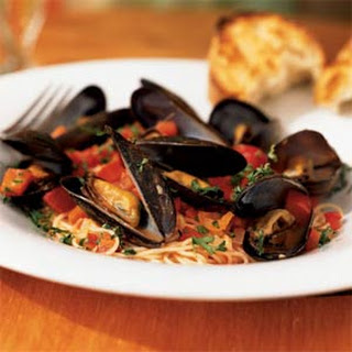 Angel Hair Pasta with Mussels and Red Pepper Sauce.
