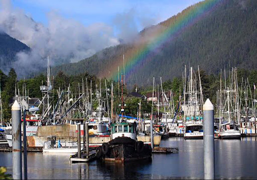Sitka-Harbor-with-rainbow.jpg - A rainbow frames the Sitka Harbor. Take a scenic waterfront cruise and or take a water taxi to nearby nature attractions.