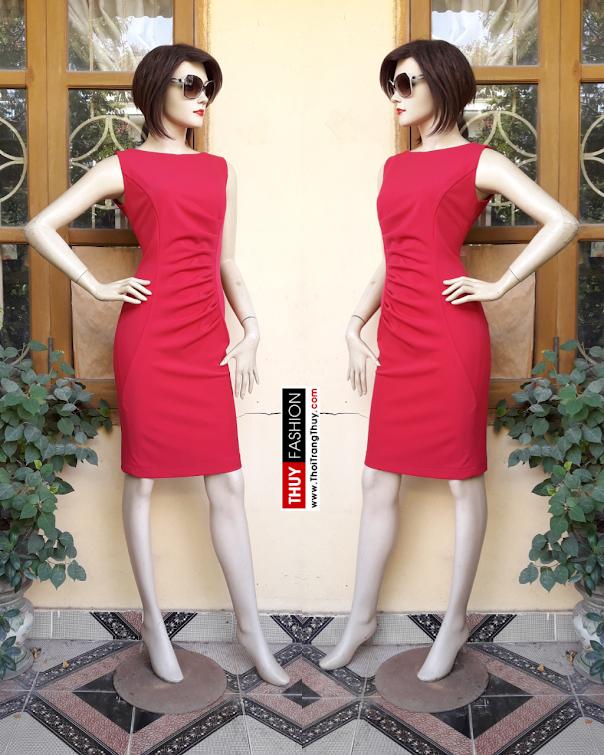 Váy dự tiệc thiết kế nhún eo tông màu đỏ V330 thời trang thủy