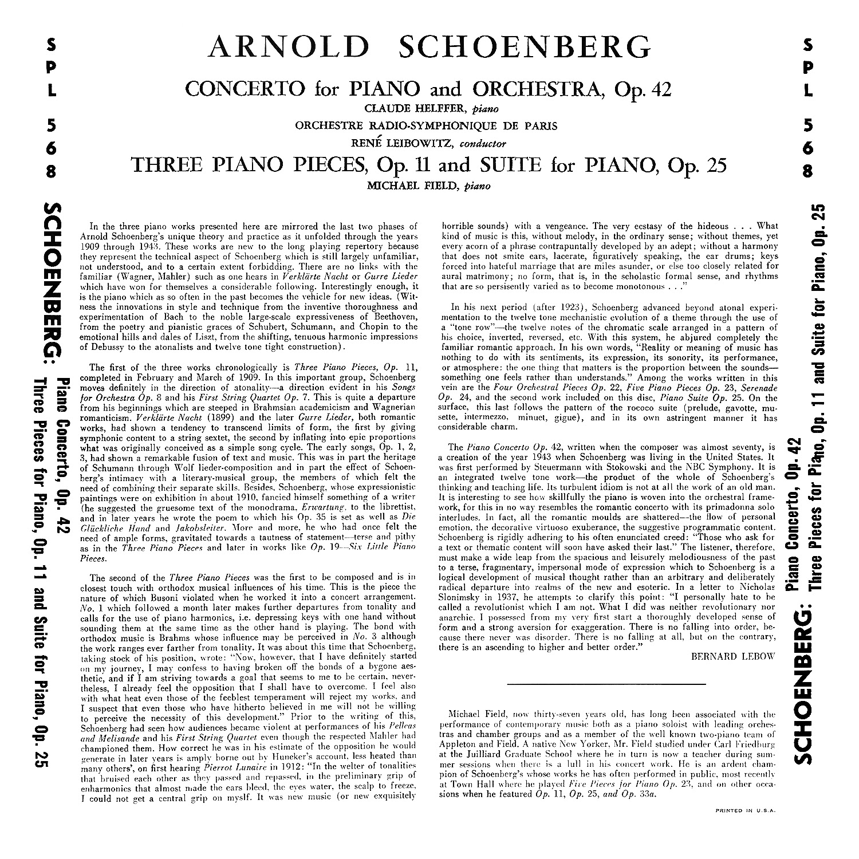 Arnold Schönberg, Claude Helffer, René Leibowitz