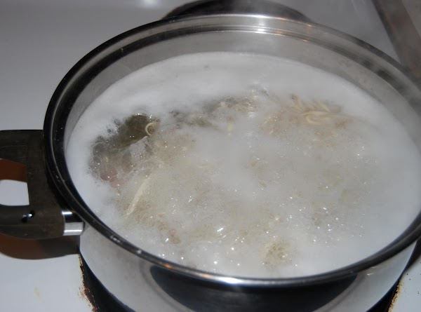 When the water gets to a boil add the noodles and potatoes to the...