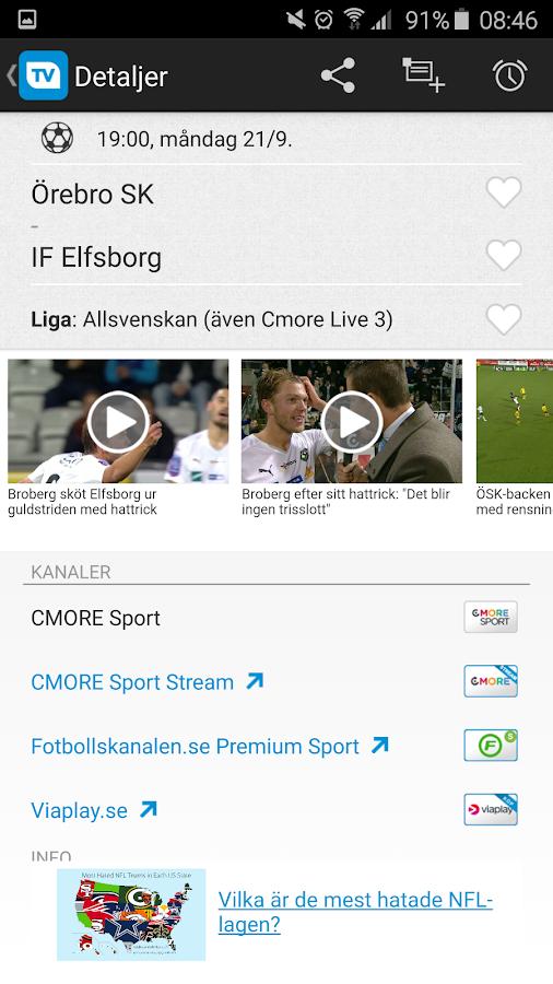TVmatchen.nu - sport på TV- screenshot