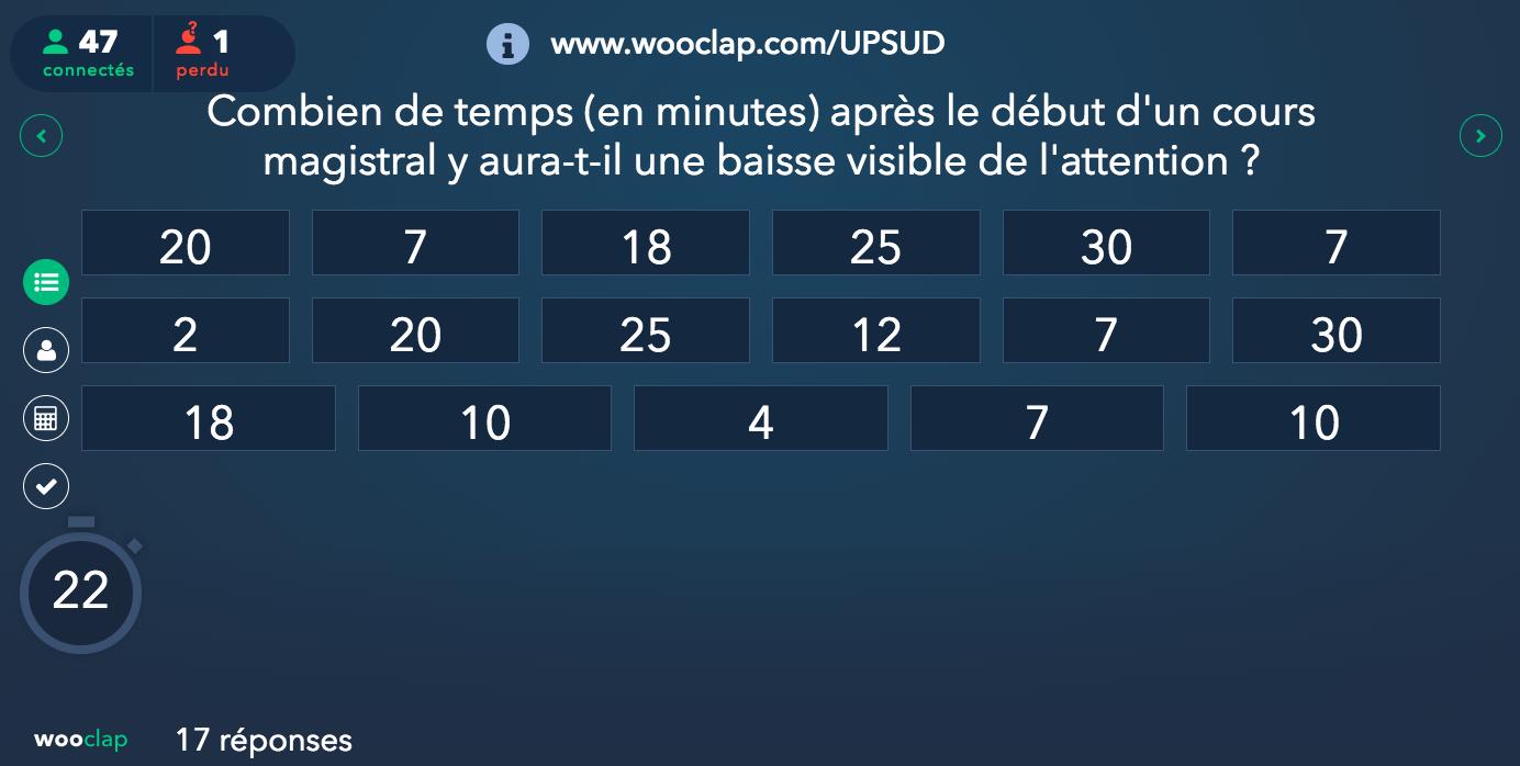 Image montrant les réponses numériques affichées à l'écran