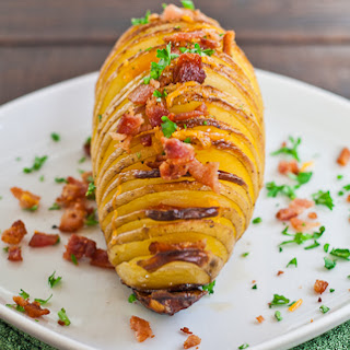 Hasselback Potatoes with Cheese and Bacon.