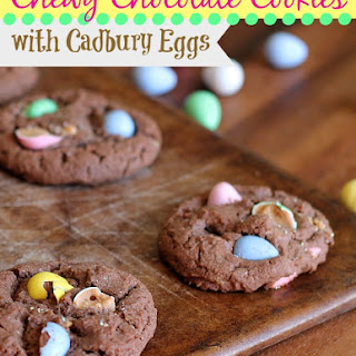 Chewy Chocolate Cookies with Cadbury Eggs.