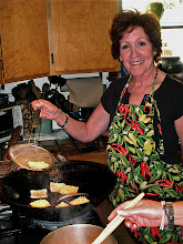Photo: Peggy frying rice squares 2