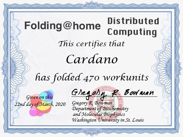 Screengrab showing the certificate for completed research given to the Cardano team