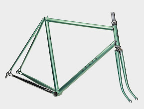 Photo: Beatiful light green metallic with the shiny stainless lugs and driveside chainstay.