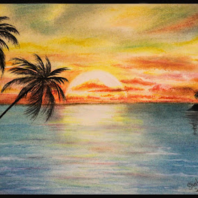 Sunset  by Shahnila Ejaz - Drawing All Drawing