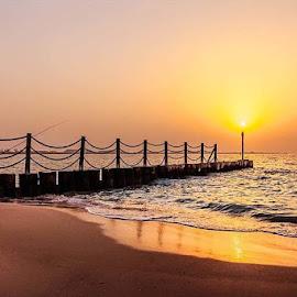 Jumeirah by Rolly Batacan - Buildings & Architecture Bridges & Suspended Structures ( sunsets, horizon, beach, fisherman, landscape )