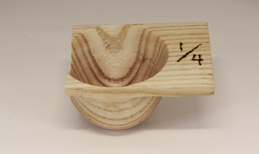 "Photo: Jeff Tate 4"" x 2 1/2"" 1/4 cup measure with pouring spout [oak]"