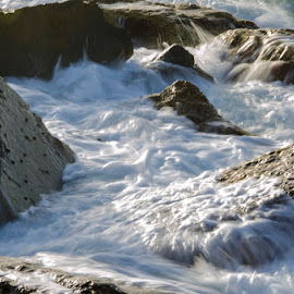 Rocks and water by Natalie Ax - Nature Up Close Water ( waves, nature, froth, boiling water, water, rush, sea, rock, sunlight, rocks, outdoors, splashing, effervesce, splash, swash, flow )