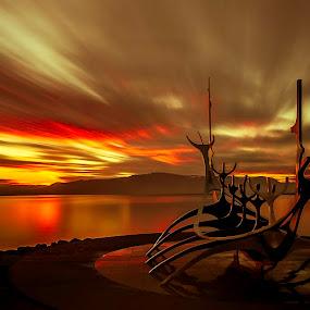 endless road to the sun.....breakthrough.... by Ruslan Stepanov - Landscapes Sunsets & Sunrises ( clouds, sun voyager, iceland, reykjavik, ocean, sunrise, landscape, rocks )