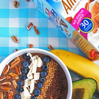 Chocolate Banana Avocado Smoothie Bowl.