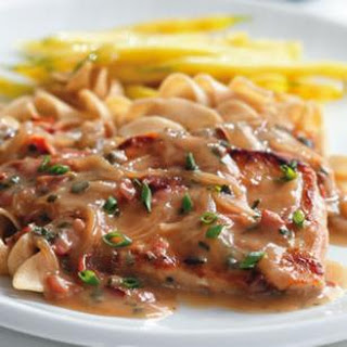 Pork Chops with Creamy Marsala Sauce.