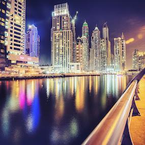 DUBAI MARINA by Steve Struttmann - City,  Street & Park  Night ( dubai, uae, night, cityscape, marina, city, nightscape,  )