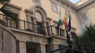 Banderas a media asta en la Subdelegación del Gobierno.