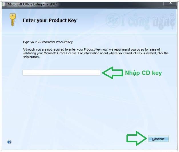 cài office 2007 full key