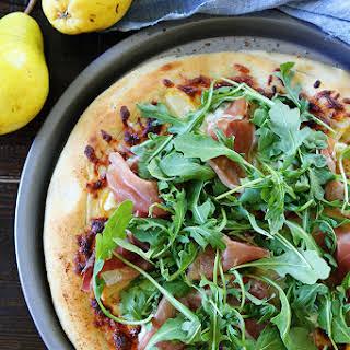 Arugula, Pear, and Prosciutto Pizza.