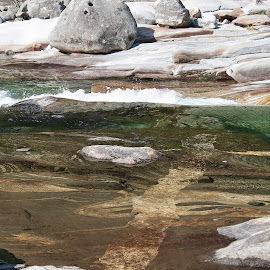 Lavertezzo, Ticino, Switzerland by Serguei Ouklonski - Nature Up Close Water ( stones & water, foam, scenic, scene, day, flow, clear water, scenics, no person, travel destinations, alp, reflection, switzerland, beauty in nature, water, close-up, light, daylight, valley, tranquility, purity, crystal, tourism, geology, high angle view, summer, rocky, rock, desktop, rocks, stream, fair weather, motion, nature, texture, wet, stone, outdoor, environment, ticino, outdoors, material, geological formation, stones, river, travel, wild, no people, landscape, nature landscape )