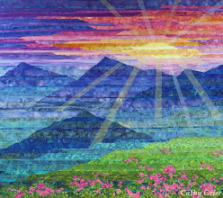 Photo: Carpathian Mountain Sunset 46 x 41 inches, 2014. Inspired by Leonid Tit's photograph of Pink Azaleas in the Carpathian Mountains.