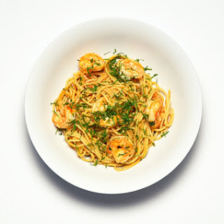 Spaghetti with Sriracha Shrimp, Cilantro and Lime