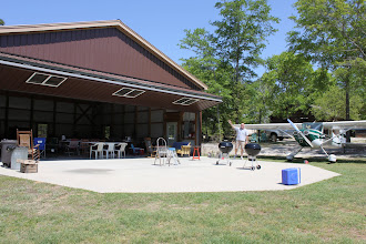 Photo: On Sunday just after noon Bob C is the first to arrive at the EAA 1467 April Meeting.