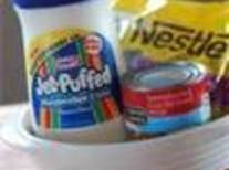 Melt choc chips in microwave, add condensed milk. In separate bowl warm marshmallow cream...