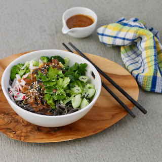 Black Bean Noodle Bowls With Spicy Sesame Sauce.
