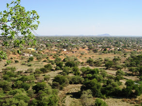 Photo: The view over Mochudi village - known to cure depression, at least the time J.L.B. Matekoni was depressed (at really, this was an exceptionally nice view, with the village, a small creek and some cattle)