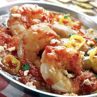 Greek Shrimp Saganaki recipe with Feta cheese (Garides Saganaki).