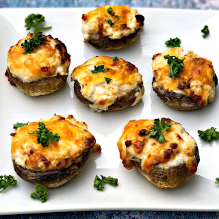 Fifteen Minute Air Fryer Three Cheese Stuffed Mushrooms.