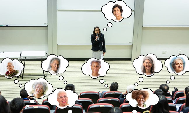 Image shows audience thought bubbles which each show a different female face