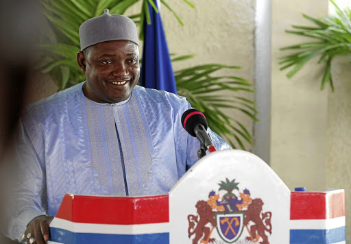 The Gambia's President Adama Barrow addresses a news conference in Banjul, Gambia in January.  Picture: REUTERS/THIERRY GOUEGNON