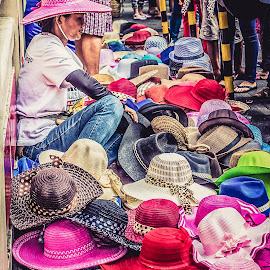 The Hat Lady by Earl Santos - People Street & Candids ( woman, street, hat, portrait, people,  )