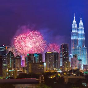 KL 2013  by Najmi Rooslan - City,  Street & Park  Street Scenes ( canon, tele, tamron 70-300, 2013, firework, new year, 60d, malaysia, tamron, kl, kuala lumpur, eos, night, telephoto )