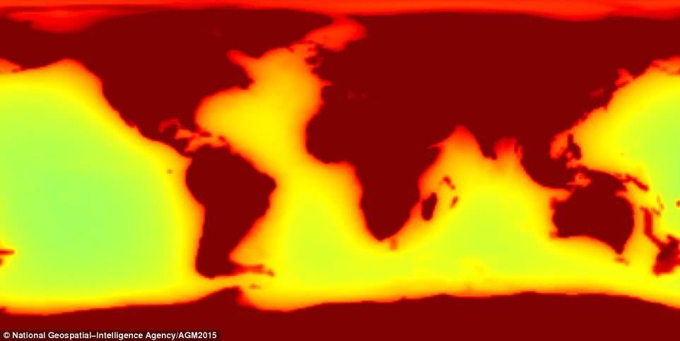 Más del 99 por ciento de todos los antineutrinos terrestres provienen de dentro de la Tierra, mientras que el resto proviene de los reactores nucleares. En la foto, la propagación de estos 'antineutrinos geofísicos' con los colores más oscuros muestran más emisiones