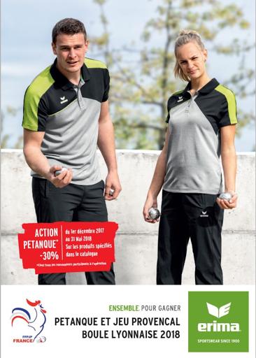 Catalogue Erima - textile pétanque et boule lyonnaise - tenue de sport