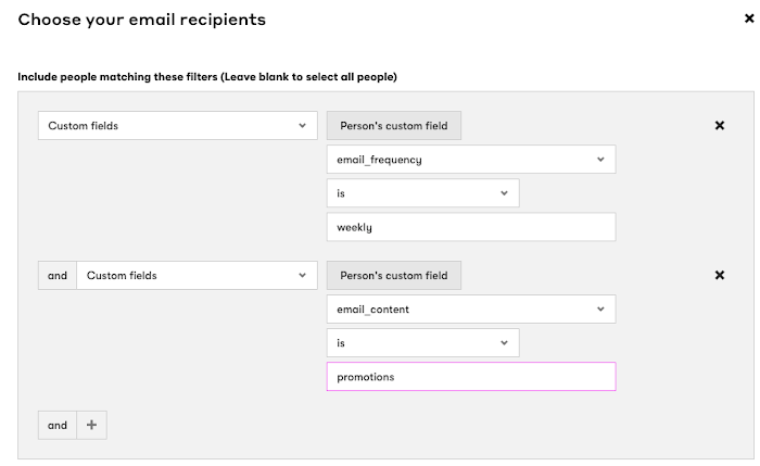 Select custom fields in your Broadcast email recipients.